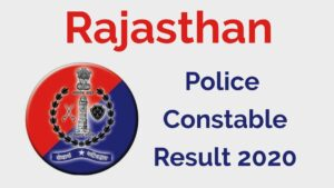 Rajasthan Police Constable Result 2020