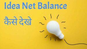 idea net balance check